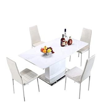 Mecor Dining Bench Contemporary Dining Table Breakfast Kitchen Dining Room  Furniture, Extendable (Length 160cm