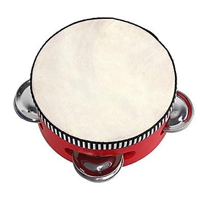 "BQLZR 4"" Educational Red Musical Sheepskin Tambourine Beat Round Drum Children Traditional Wooden Natural Skinned Musical Toy Instrument from BQLZR"