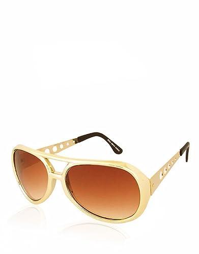 True Romance Elvis estilo gafas de sol, Marco Dorado/Marrón Lente Degradado
