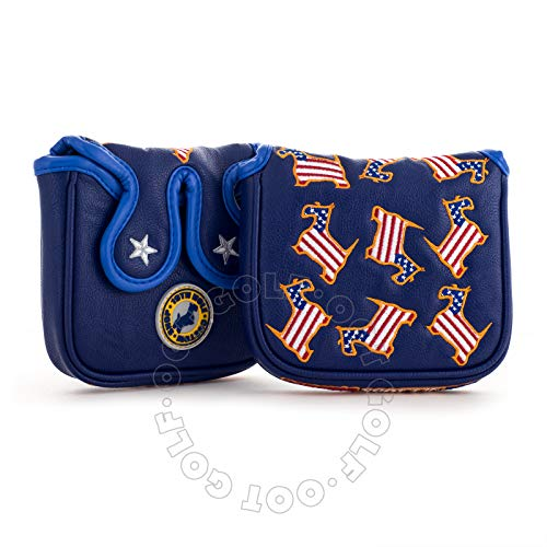 19th Hole Custom Shop US Flag Dancing Scottie Dog High-MOI Mallet Putter Headcover, Blue, Golf Head Cover
