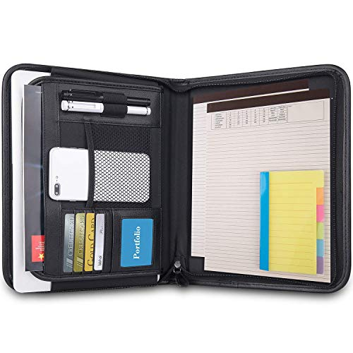 Portfolio Padfolio with Divider Sticky Notes - Portfolio Folder with Zippered Closure, Faux Leather Portfolio Interview Binder with 2 Bonus Writing Pads, 11