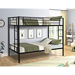 Bedroom Twin Over Twin Bunk Bed, Flieks Metal Bed Frame with Slat System, Full-Length Guard Rail, Built-in Side Ladders, No Box… bunk beds
