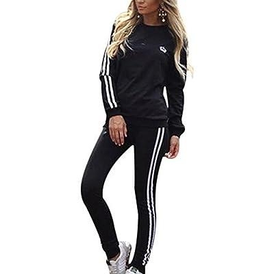 7be792480a36f Élasticité Sports costumes manches longues à rayures Sweat Hoodies Sports  Long Pantalon 2PCS complet Survêtement pour