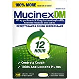 Mucinex DM 12-Hour Expectorant and Cough Suppressant Tablets, 40 Count (Pack of 12)