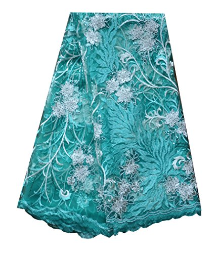 SanVera17 African Lace Net Fabrics Nigerian French Fabric Embroidered and Beading Guipure Cord Lace for Party Wedding (green) 5 Yards us-fabric-012-4 by SanVera17