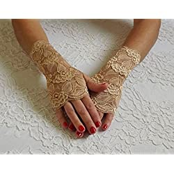 Gold Lace Fingerless Gloves, Elastic Floral Mittens, Bridal, Bridesmaids Short Gloves.