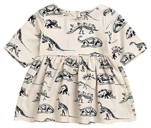 Mini honey Infant Baby Girls Summer Playwear Sun Dresses One-Piece Dress With Dinosaurs Print (12-18 Months, Beige) - Infants Dress