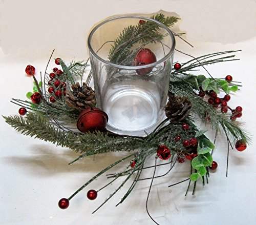 Berry Leaf Candle Ring (Christmas Icy Pine Red Bell & Red Berry GARLAND, MINI-WREATH, CANDLE RINGS, or HURRICANE CENTERPIECES (3
