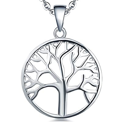 Tree of Life Necklace-YL Womens Sterling Silver Tree of Life Pendant Necklace-Family Mothers Day Valetine's Day Tree Necklace Mother's Day Gifts