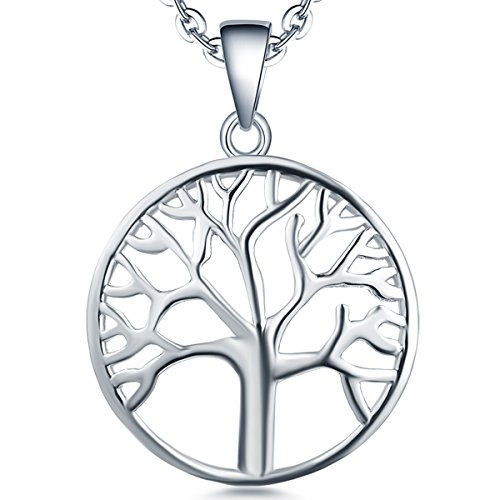 YL Tree of Life Necklace Sterling Silver Giving Family Pendant 14K White Gold Plated Jewelry Brithday Gift