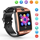 Bluetooth Smart Watch Q18 Support Sleep Monitor Pedometer Sweatproof Touchscreen Smartwatches SHFY with Camera Compatible iOS iPhone Android Phones Wearable Equipment for Men Women Kids Boys Girls (Gold)
