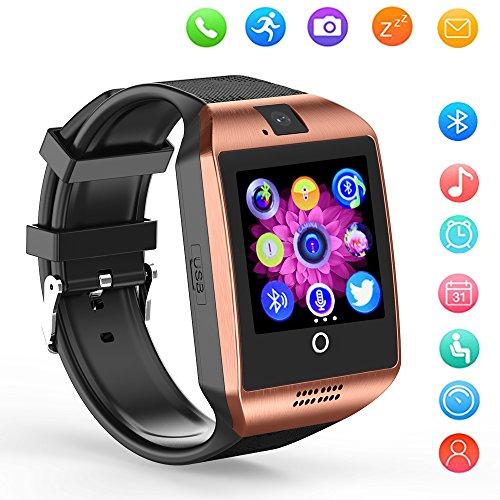 Smart Watch Bluetooth Q18 Touchscreen Wrist Watches SHFY Camera Compatible Android Phones Men Women (Gold)