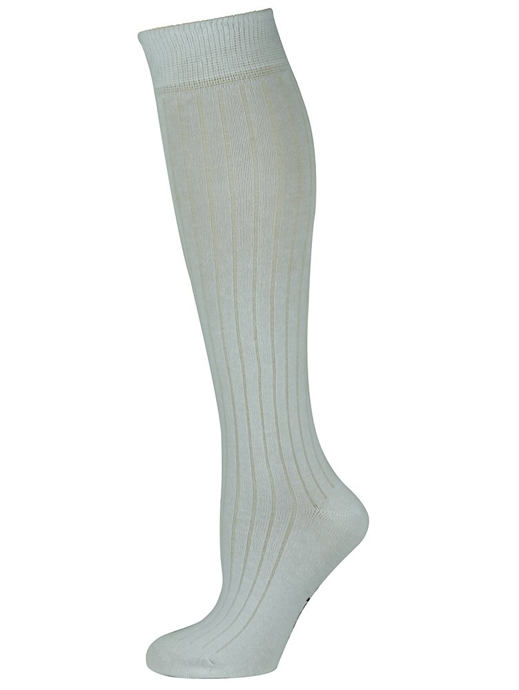 Mysocks Unisex Knee High Long Socks with Extra Fine Combed Cotton Ribbed White