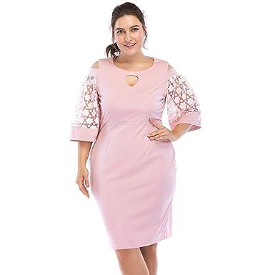 96726bbe7ea Rosegal Robe Crayon Femme Grande Taille Robe Moulante Portefeuille Mode 1 2  Manches en Dentelle