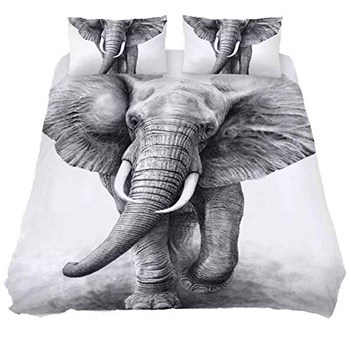 LORVIES A Pencil Drawing of an African Elephant Bull Charging by Wildlife Art Duvet Cover Sets Decorative 3 Piece Bedding Sets with Pillow Shams for Men Women Boys Girls Kids Teens