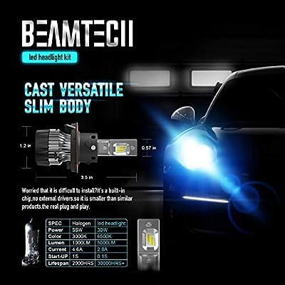 BEAMTECH H13 LED Headlight Bulbs,6500K 10000 Lumens Extremely Super Bright 9008 Hi/Lo 30mm Heatsink Base CSP Chips Conversion Kit,Xenon White: Automotive