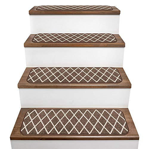 (House, Home and More Set of 15 Skid-Resistant Carpet Stair Treads - Diamond Trellis Lattice - Coffee Brown & Vanilla Cream - 8 Inches X 26 Inches )