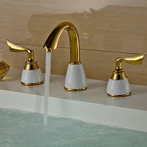 Beelee Luxury Golden Two Handles Deck Mount Bath Tub Faucet Antique Brass Finish Bathroom Sink Faucet Bronze Widespread Bathroom Sink Faucet, Antique Brass Finished by Beelee by Beelee