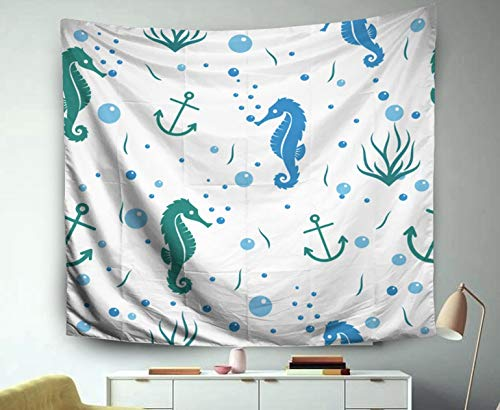 Asdecmoly Easter Tapestry Printing Wall Hanging Tapestries for Living Room and Bedroom 60 L x50 W Inches Blue Ocean Theme Seahorse Pattern Background Wallpaper Merchandise Art Printing -