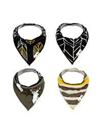 ALVABABY Bandana Drool Bibs Boys Girls Unisex Soft and Super Absorbent 100% Cotton,Baby Gifts for Drooling Teething Feeding (Pack of 4) SK10-CA