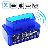 Automotive : Car Wifi OBD 2, Mini OBD2 Scan Tool, Wsiiroon Mini Car OBD2 OBDII Scan Tool Auto Diagnostic Scanner Code Reader/Scan Tool Check Engine Light for IOS & Android (Blue)