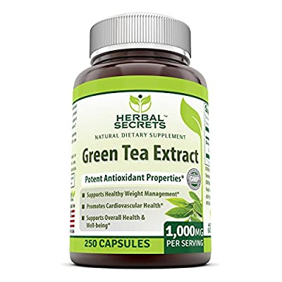 Herbal Secrets Green Tea Extract 1000 Mg Per Serving 250 Capsules - Supports Healthy Weight Management