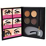 Beauty Treats Eyebrow Kit 2 Dozen - 4 Eyebrow Powders, 3 Stencils, 1 Brush Applicator