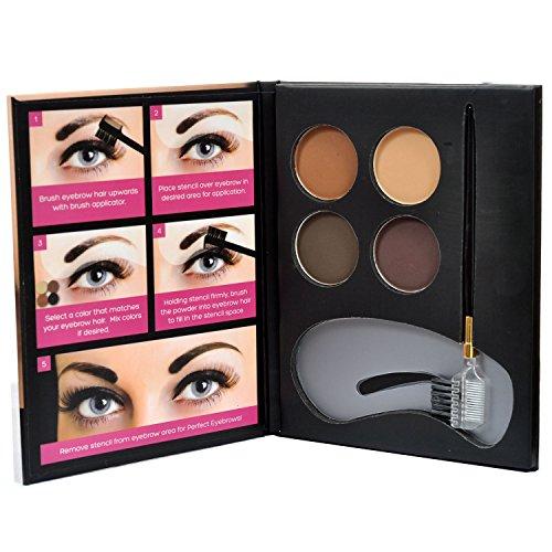 Beauty Treats Eyebrow Kit 2 Dozen - 4 Eyebrow Powders, 3 Stencils, 1 Brush Applicator by Beauty Treats