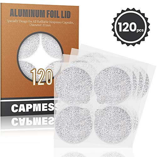 CAPMESSO Espresso Foils -Coffee Pod Seal Lids to Reuse Capsules Compatible with Nespresso Original Line Machines 120PCS/Package