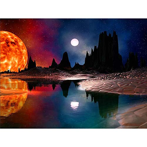 DIY 5D Diamond Painting by Number Kits, Moon and Sun Full Drill Crystal Rhinestone Diamond Embroidery Paintings Pictures Arts Craft for Home Wall Decor -