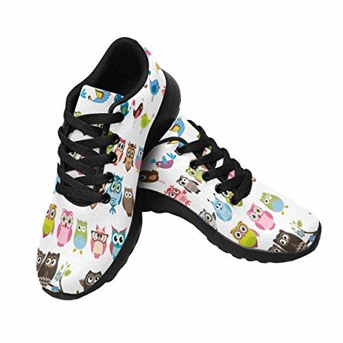 Gufi Di Impronte Digitali E Uccelli Womens Jogging Running Sneaker Leggero Go Easy Walking Shoes Multi 1