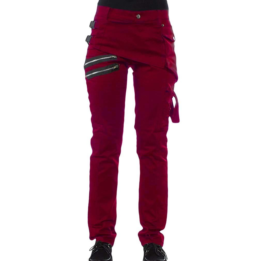 kunfang Men Steampunk Denim Jeans with Pockets Fashion Buckle Lock Straight Leg Pants Joggers Sport Bottoms Solid Color Military Combat Trousers Black Red Green