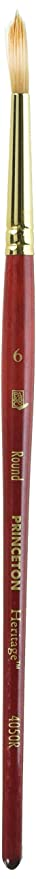 Princeton Heritage, Golden Taklon Brush For Watercolor & Acrylic, Series 4050 Round Synthetic Sable, Size 6 by Princeton Artist Brush