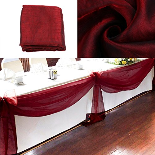 vLoveLife 33ft Burgundy Sheer Organza Top Table Swag Fabric Table Runner Chair Sash Wedding Car Party Stair Bow Valance Decorations