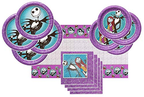 Nightmare Before Christmas Party Supplies Tableware Bundle Pack For 16 Guests - Includes 16 Dinner Plates, 16 Dessert Plates, 16 Dinner Napkins, and 1 Tablecover]()