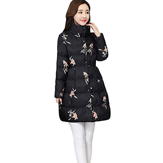 Clearence Womens Coats KpopBaby Winter Warm Outerwear Printing Long Cotton-Padded Pocket Jackets