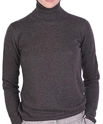 Balldiri 100% Cashmere Kaschmir Damen Pullover Rollkragen ohne Bündchen braun meliert M