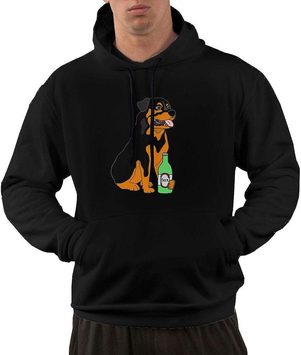Cool Dog Drink Beer Pullover Hoodie Sweatshirt Mens Performance Active Hooded Sweatshirt