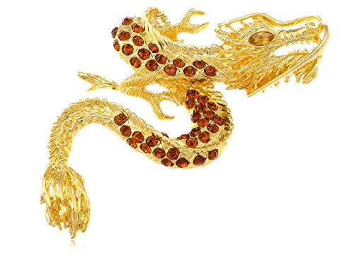 (Alilang Antique Golden Tone Shiny Topaz Rhinestones Dragon Monster Brooch Pin)