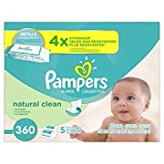 Pampers Natural Clean Unscented Water Baby Wipes 5X Refill Packs, 360 Count