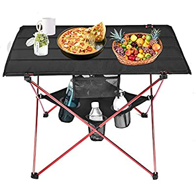 Grepatio Lightweight Camp Table - 4 Mesh Cup Holders and Carrying Bag Included, Folding Canvas Camping Table for Picnic, BBQ, Fishing, Hiking