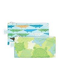 Bumkins Reusable Snack Bags, Turtle and Crocs, Green