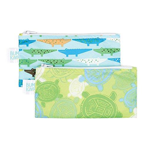 Bumkins Reusable Snack Bag Small 2 Pack, Crocs & Turtle (B2)