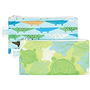 Bumkins Reusable Snack Bag Small 2 Pack, Crocs & Turtle (B2)