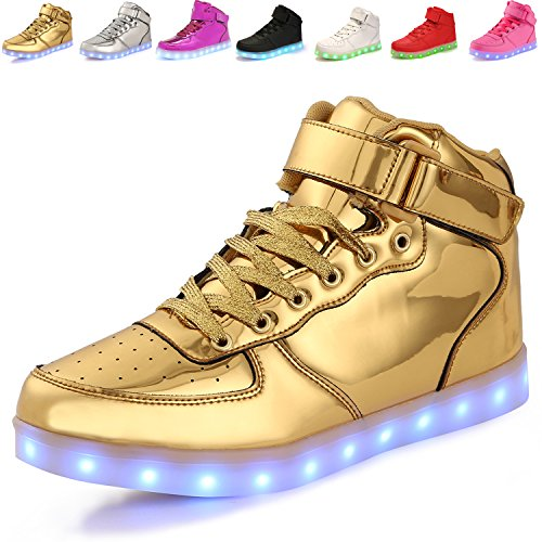 Please feel free to contact us when you have any problem.Thank you very much.Specification:PU leather,Rubber sole.Lining Material:Cotton FabricFit for men, women, girls,boysFit for Spring,Summer,Fall,WinterFunction: LED LightColor: Gold/Silve...