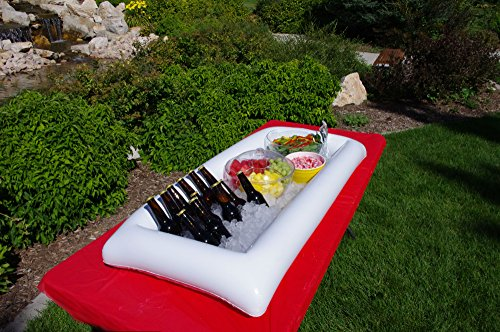 large white inflatable serving bar buffet cooler with drain plug perfect blow up server caddy - Cold Buffet Server