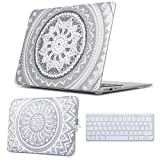 iCasso Macbook Air 13inch Case & Laptop Sleeve Bundles 3 in 1, Plastic Hard Case,Laptop Bag with Keyboard Cover for Macbook Air 13 inch (Models: A1369/A1466) (Air 13 inch, Grey Medallion)