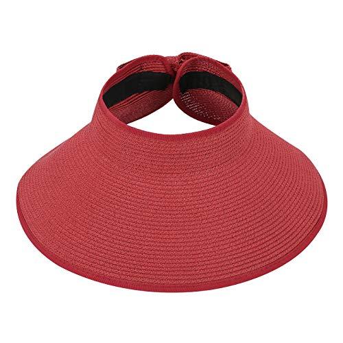 (HDE Womens Roll Up Sun Hats Straw Visor Beach Bonnet Cap)
