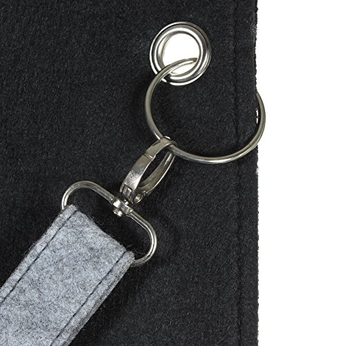 JUSTFOX - XXL Filztasche Handtasche Einkaufstasche Groß und superstabil in 2 Farben grau / schwarz Schwarz
