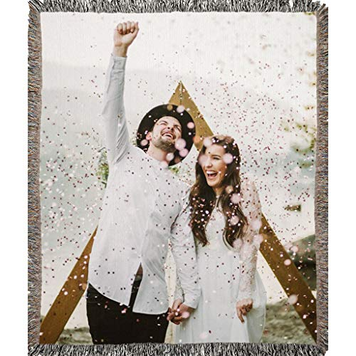 (Custom Personalized Woven Blanket with your Photo. Full Color with your Photos. Soft 100% woven cotton fabric makes a nice warm decorative keepsake gift customized by your photo (1 Photo, 50'' x 60''))